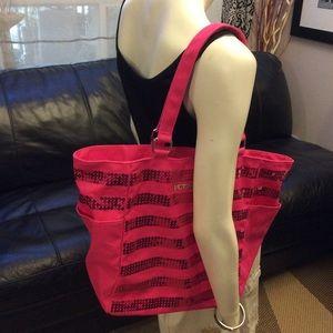 NWOT hot pink sequinned Victoria's Secret tote